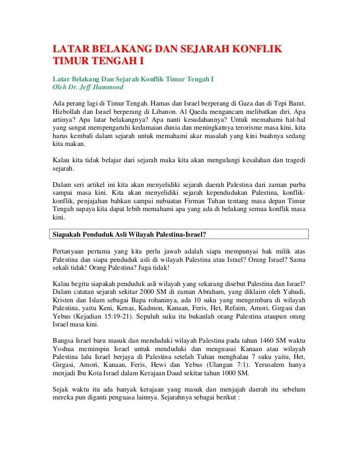 LATAR BELAKANG DAN SEJARAH KONFLIK TIMUR TENGAH I Latar Belakang Dan Sejarah Konflik Timur Tengah I Oleh Dr. Jeff Hammond ...