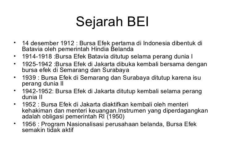 Sejarah bursa efek indonesia (bei) Slide 2