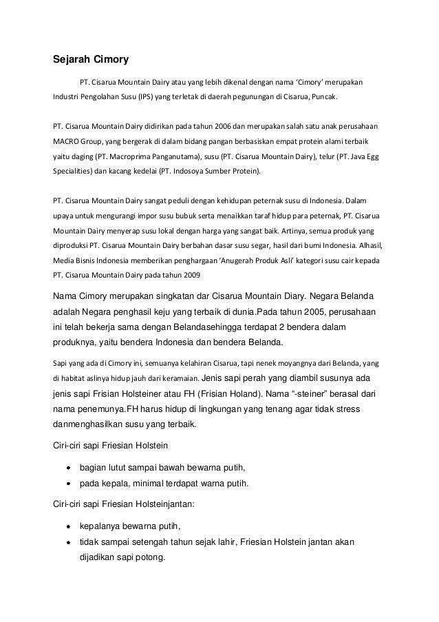 Sejarah Cimory PT. Cisarua Mountain Dairy atau yang lebih dikenal dengan nama 'Cimory' merupakan Industri Pengolahan Susu ...
