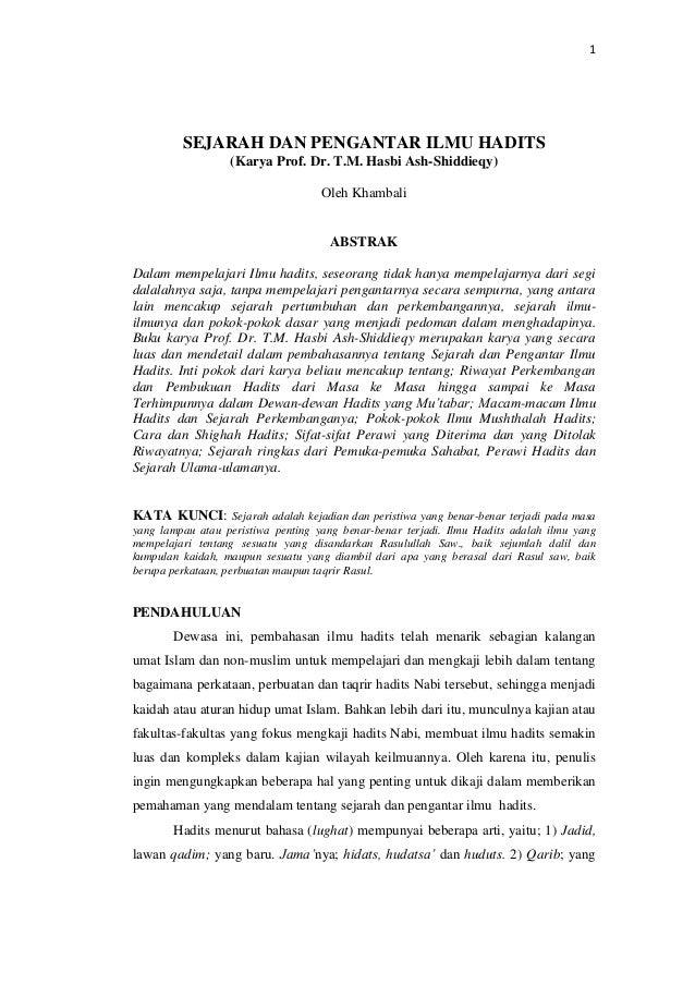 Sejarah Dan Pengantar Ilmu Hadits Karya Prof Dr T M Hasbi Ash Shid
