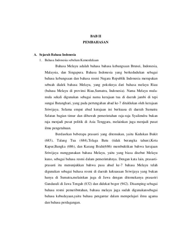 Makalah Sejarah Kedudukan Dan Fungsi Bahasa Indonesia