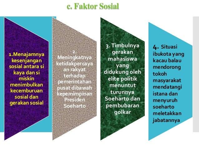 c. Faktor Sosial 1.Menajamnya kesenjangan sosial antara si kaya dan si miskin menimbulkan kecemburuan sosial dan gerakan s...