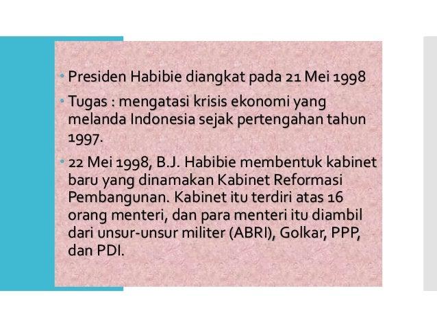 Prosesi Pelantikan B.J Habibie menjadi Presiden