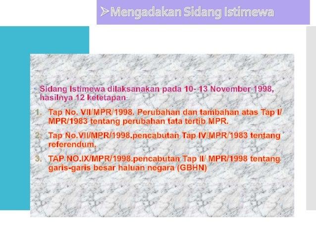 Bidang ekonomi 1. Merekapitulasi perbankan. 2. Merekonstruksi perekonomian indonesia. 3. Melikuidasi beberapa bank bermasa...