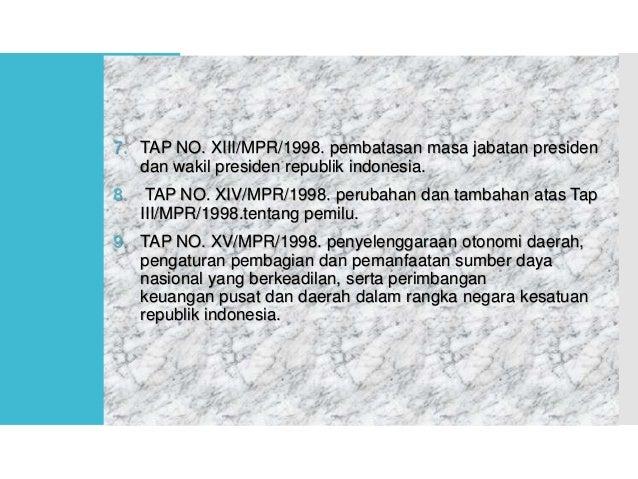 Mengadakanreformasi di bidangHukum Target reformasi di bidang hukum:  Substansi hukum  Aparatur penegak hukum yang bers...
