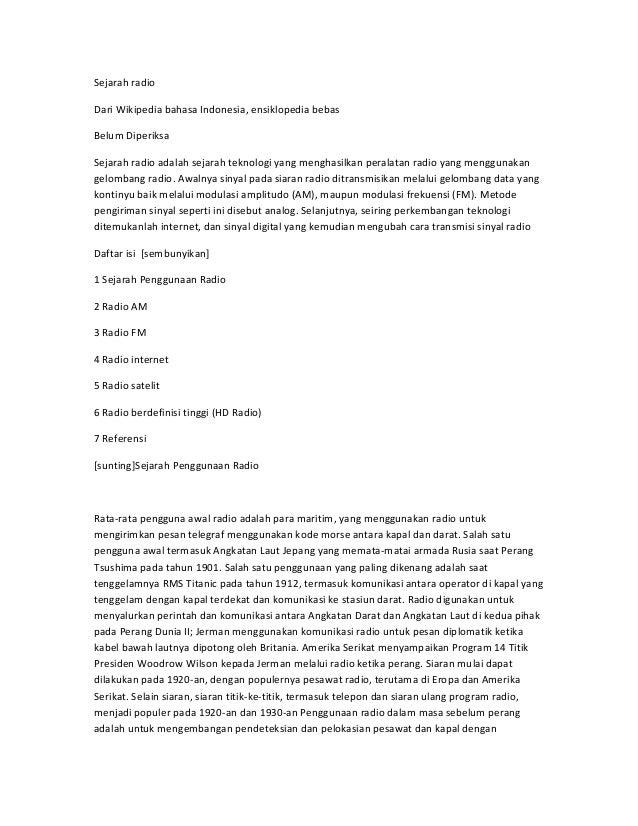 Sejarah radioDari Wikipedia bahasa Indonesia, ensiklopedia bebasBelum DiperiksaSejarah radio adalah sejarah teknologi yang...