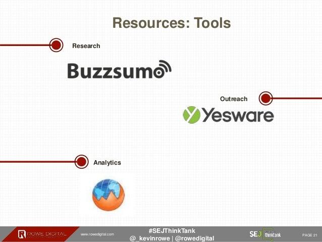 www.rowedigital.com PAGE 21 #SEJThinkTank @_kevinrowe   @rowedigital Resources: Tools Outreach Analytics Research