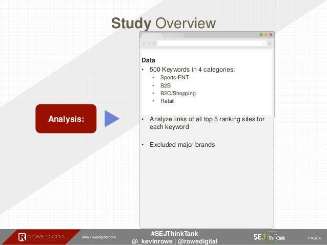 www.rowedigital.com PAGE 6 #SEJThinkTank @_kevinrowe   @rowedigital Study Overview Analysis: Data • 500 Keywords in 4 cate...