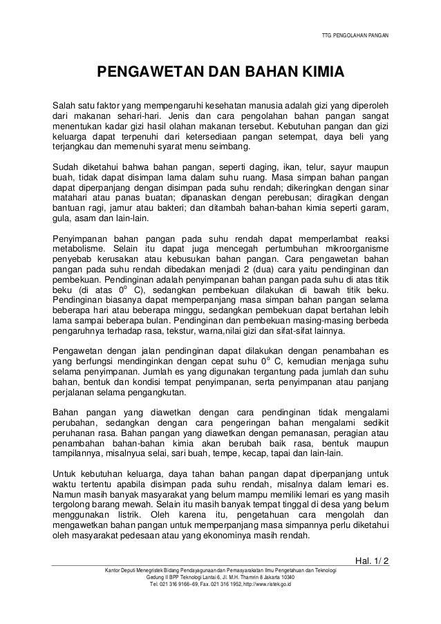 TTG PENGOLAHAN PANGAN Hal. 2/ 2 Kantor Deputi Menegristek Bidang Pendayagunaan dan Pemasyarakatan Ilmu Pengetahuan dan Tek...
