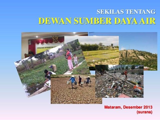 SEKILAS TENTANG  DEWAN SUMBER DAYA AIR  Mataram, Desember 2013 (surana)