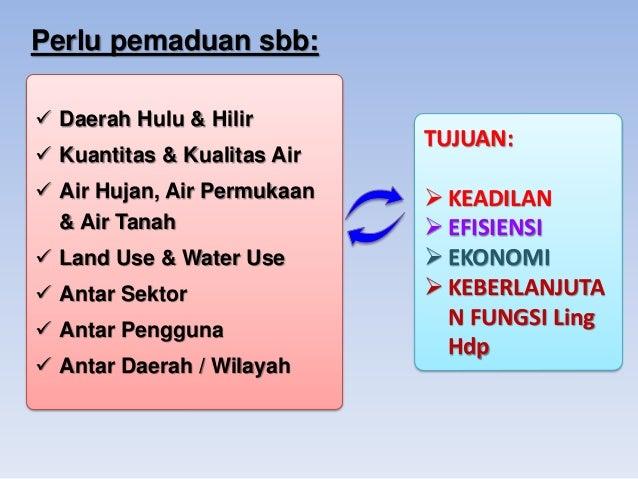 Perlu pemaduan sbb:  Daerah Hulu & Hilir   Kuantitas & Kualitas Air  Air Hujan, Air Permukaan & Air Tanah   Land Use &...