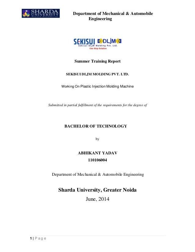 SEKISUI DLJM Molding Pvt  Ltd  Industrial Report(Plastic