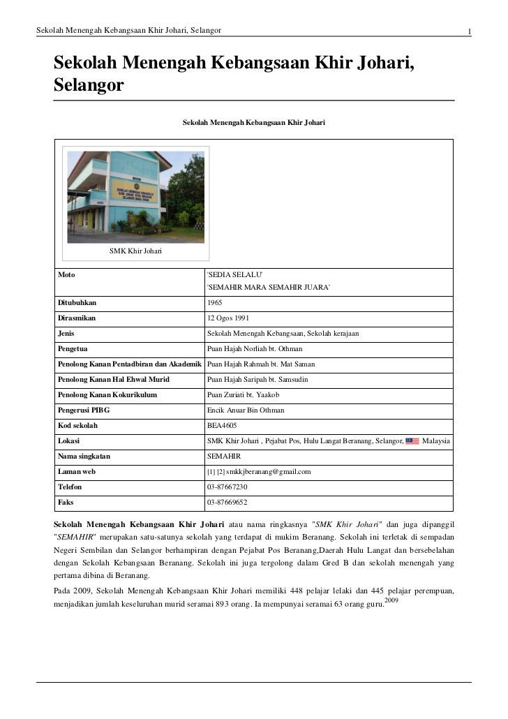 Sekolah Menengah Kebangsaan Khir Johari, Selangor                                                                         ...