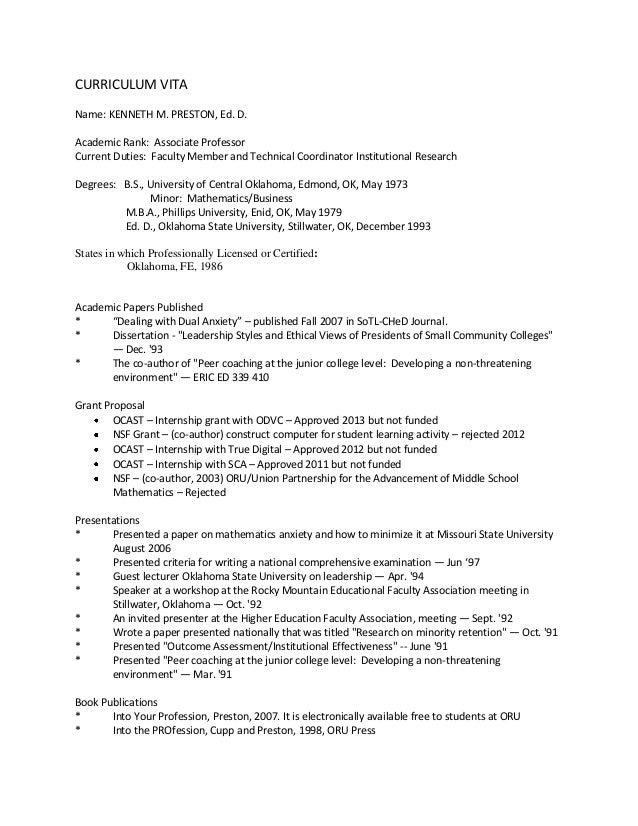 CURRICULUM VITA Name: KENNETH M. PRESTON, Ed. D. Academic Rank: Associate Professor Current Duties: Faculty Member and Tec...