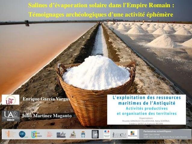 Enrique García Vargas Salines d'évaporation solaire dans l'Empire Romain : Témoignages archéologiques d'une activité éphém...