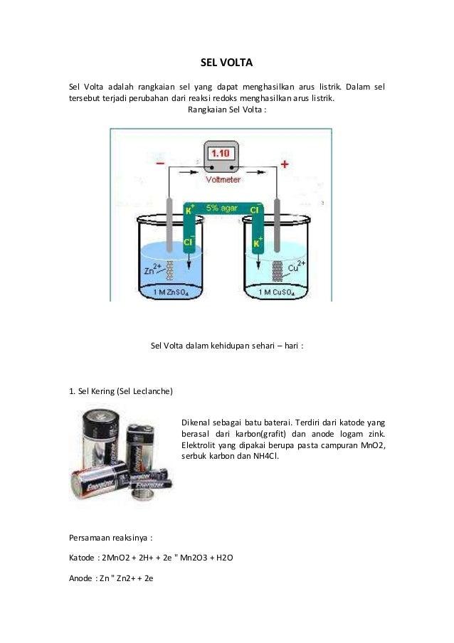 SEL VOLTA Sel Volta adalah rangkaian sel yang dapat menghasilkan arus listrik. Dalam sel tersebut terjadi perubahan dari r...