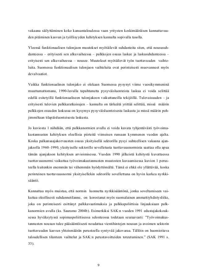 Palkkanormit ja palkanmuodostus Suomessa