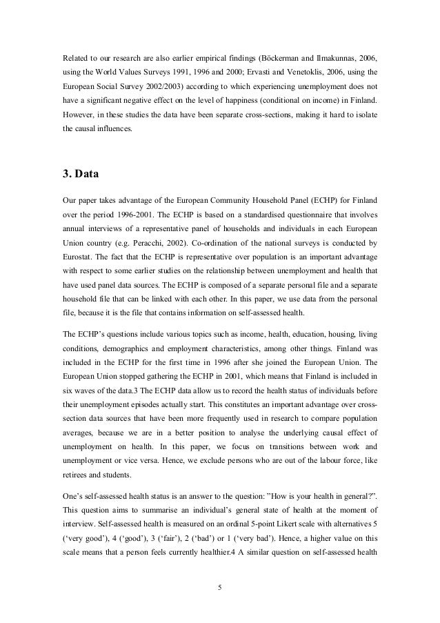unemployment and self assessed health evidence from panel data 8