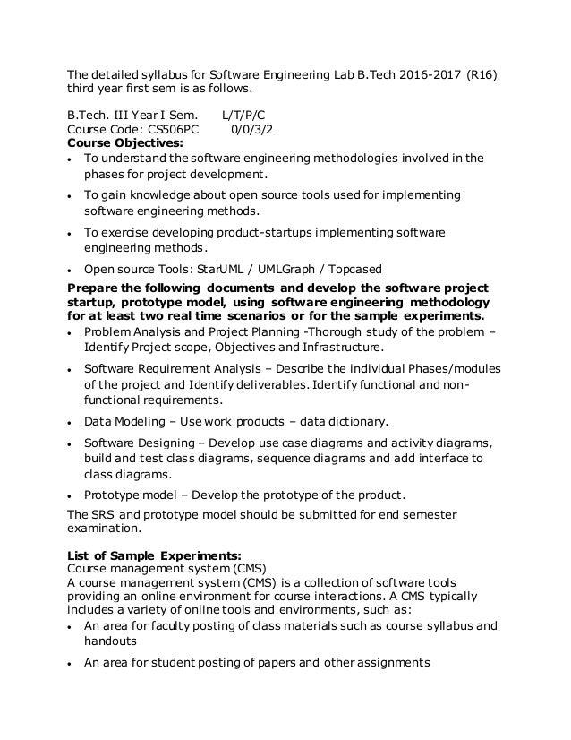 Software Engineering lab syllabus jntuh r15