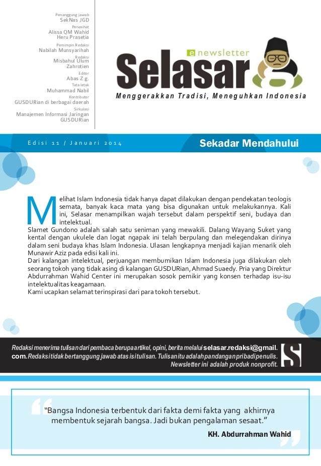 Penanggung jawab  SekNas JGD Penasihat  Alissa QM Wahid Heru Prasetia Pemimpin Redaksi  Nabilah Munsyarihah Redaksi  Misba...
