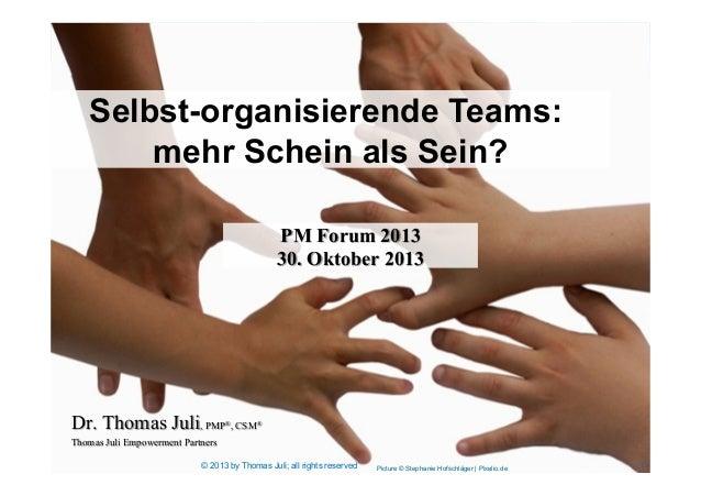 Picture © Stephanie Hofschläger | Pixelio.de Selbst-organisierende Teams: mehr Schein als Sein? Dr. Thomas Juli, PMP®, CSM...