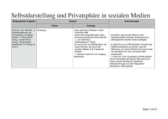 Selbstdarstellung und Privatsphäre in sozialen Medien Biographische Angaben Exzerpt Annmerkungen Thema Aussage Schmidt, Ja...