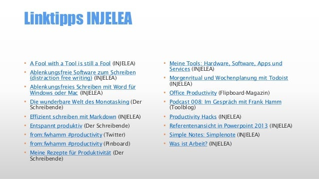 Tooltipps INJELEA (Auswahl) • Byword (Distraction Free Writing), Mac/iOS • Google for Work (Office, Collaboration) • Googl...