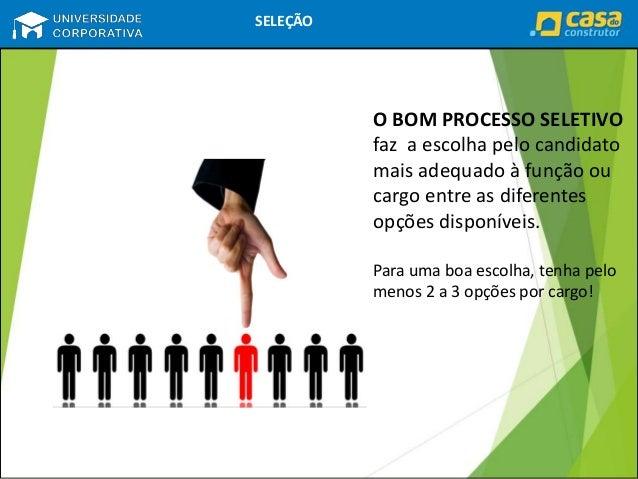 RECRUTAMENTO SELEÇÃO O BOM PROCESSO SELETIVO faz a escolha pelo candidato mais adequado à função ou cargo entre as diferen...