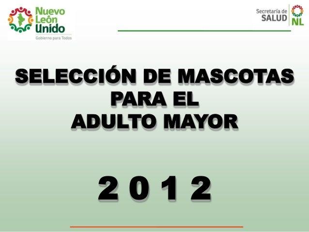 SELECCIÓN DE MASCOTAS       PARA EL    ADULTO MAYOR      2012
