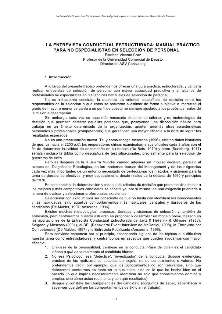 La Entrevista Conductual Estructurada: Manual práctico para no especialistas en Selección de Personal.             LA ENTR...