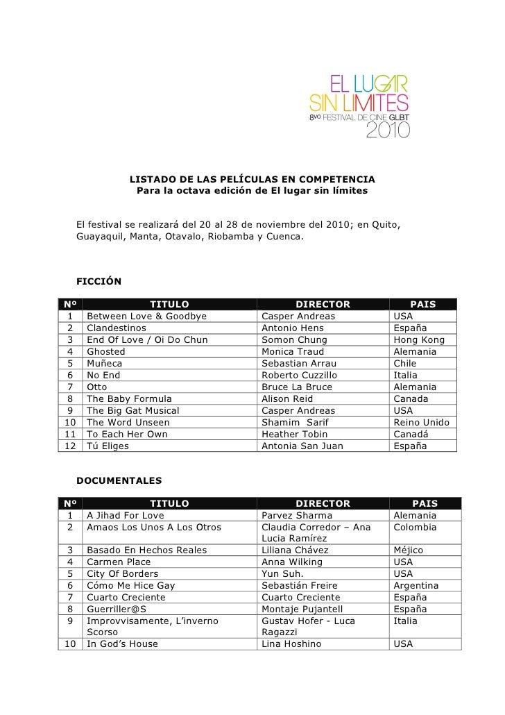 LISTADO DE LAS PELÍCULAS EN COMPETENCIA                  Para la octava edición de El lugar sin límites        El festival...