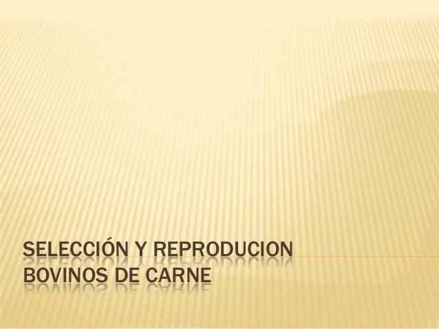 SELECCIÓN Y REPRODUCIONBOVINOS DE CARNE