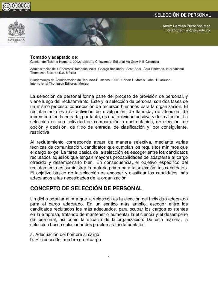 SELECCIÓN DE PERSONAL                 GESTIÓN HUMANA – DOCENTE: HERMAN BACHENHEIMER A.                                    ...