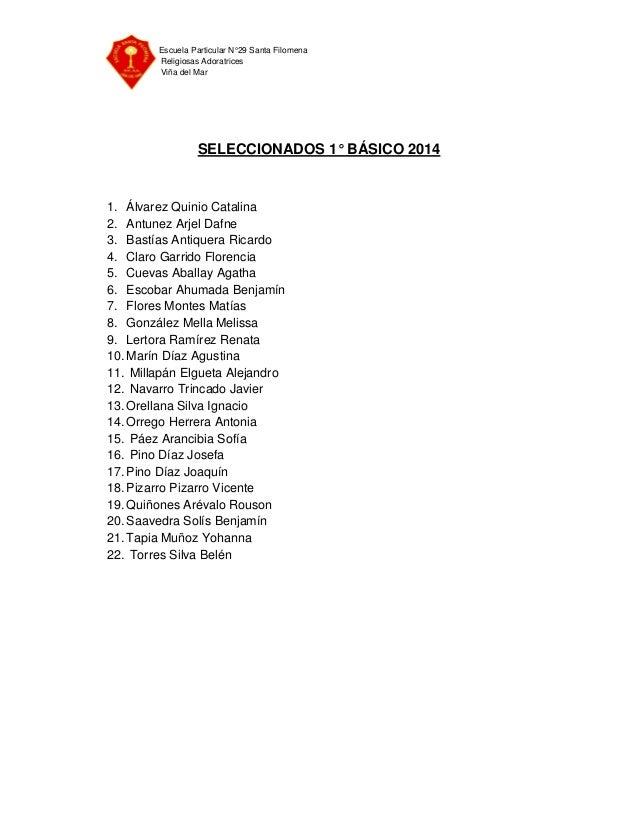 Escuela Particular N°29 Santa Filomena Religiosas Adoratrices Viña del Mar SELECCIONADOS 1° BÁSICO 2014 1. Álvarez Quinio ...
