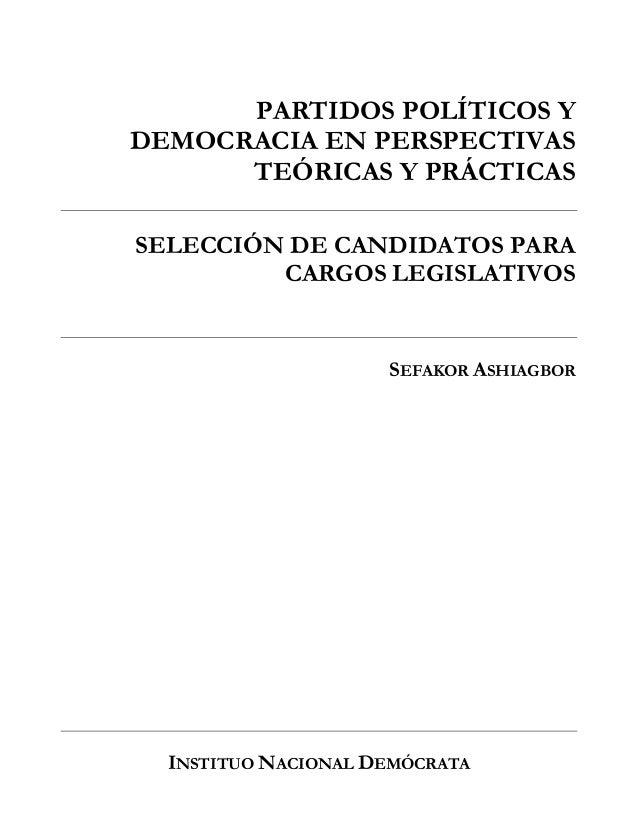 Seleccion de candidatos para cargos legislativos Slide 2