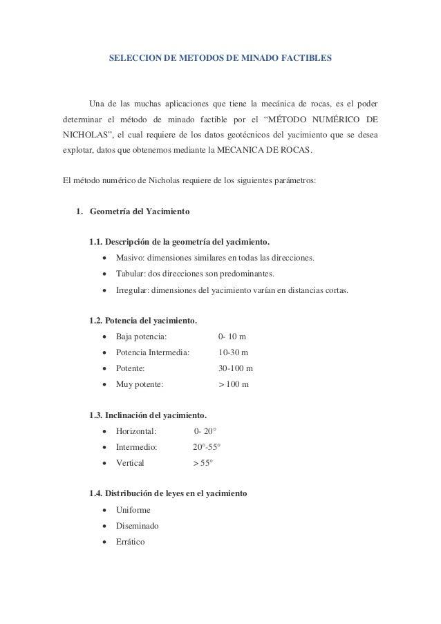 Seleccion metodo de minado, metodo numerico de nicholas Slide 2