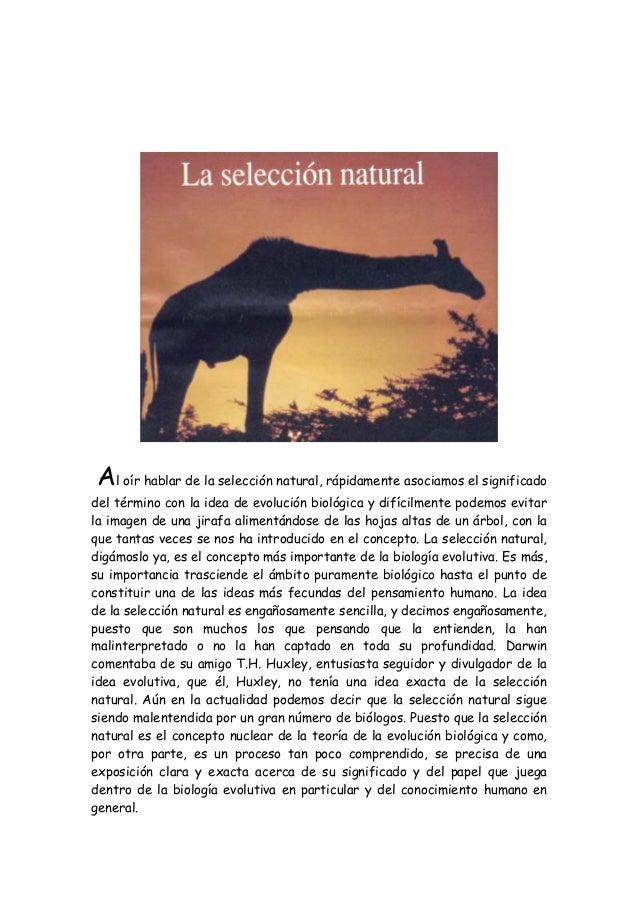 Al oír hablar de la selección natural, rápidamente asociamos el significado del término con la idea de evolución biológica...