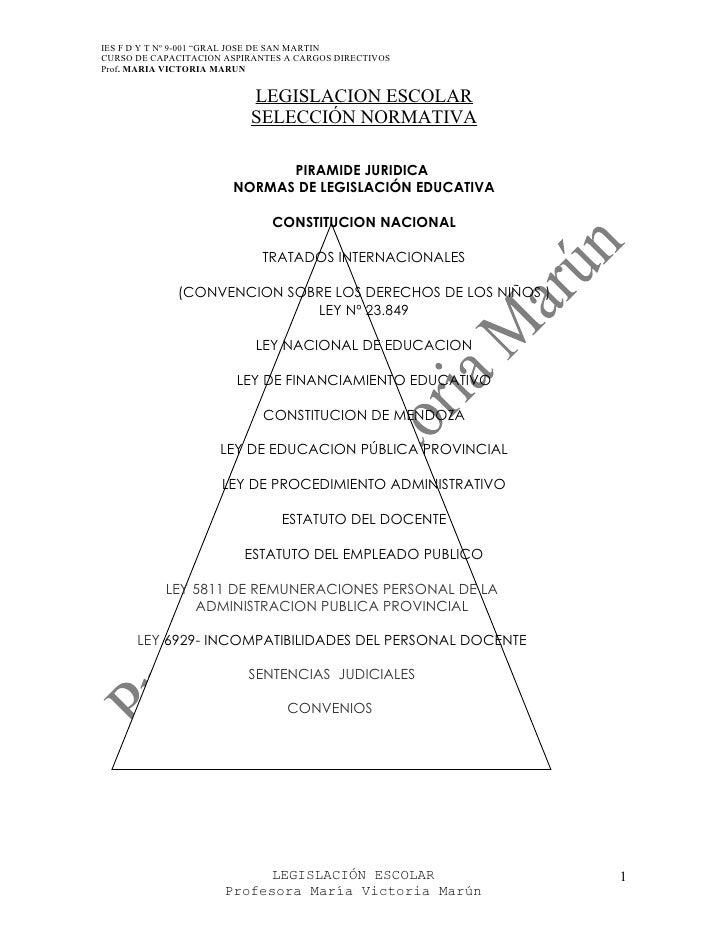 """IES F D Y T Nº 9-001 """"GRAL JOSE DE SAN MARTIN CURSO DE CAPACITACION ASPIRANTES A CARGOS DIRECTIVOS Prof. MARIA VICTORIA MA..."""