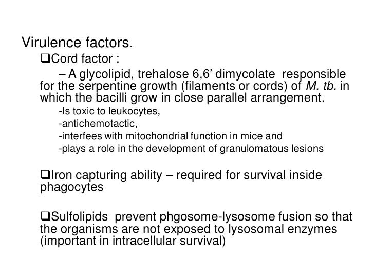 Virulence factors.   Cord factor :       – A glycolipid, trehalose 6,6' dimycolate responsible   for the serpentine growt...