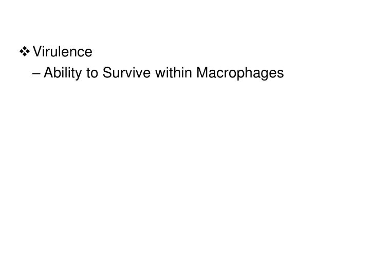 Virulence – Ability to Survive within Macrophages