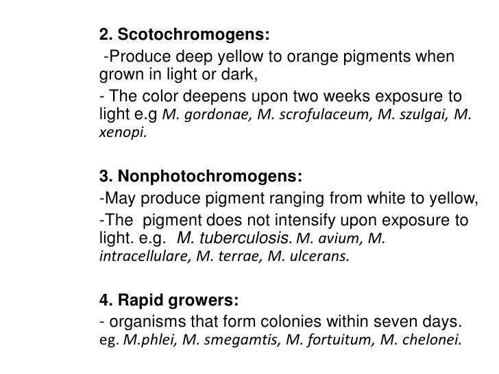 2. Scotochromogens: -Produce deep yellow to orange pigments whengrown in light or dark,- The color deepens upon two weeks ...