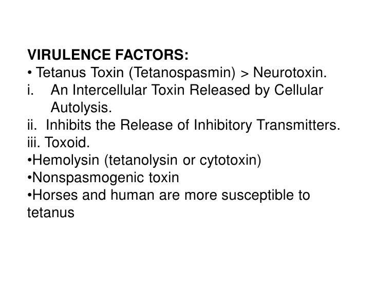 VIRULENCE FACTORS:• Tetanus Toxin (Tetanospasmin) > Neurotoxin.i. An Intercellular Toxin Released by Cellular      Autolys...