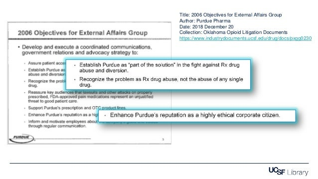Title: 2006 Objectives for External Affairs Group Author: Purdue Pharma Date: 2018 December 20 Collection: Oklahoma Opioid...