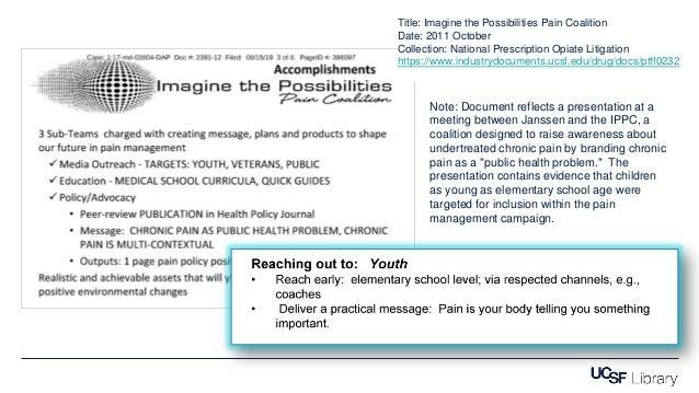 Title: Imagine the Possibilities Pain Coalition Date: 2011 October Collection: National Prescription Opiate Litigation htt...