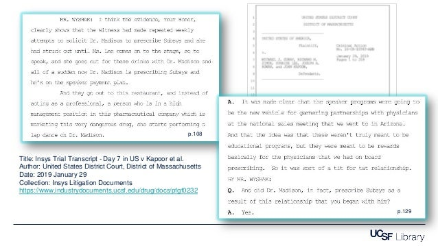 Title: Insys Trial Transcript - Day 7 in US v Kapoor et al. Author: United States District Court, District of Massachusett...