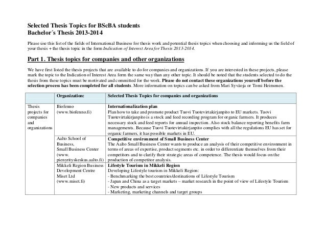 Selected Thesis Topics for BScBA students Bachelor´s Thesis 2013-2014 Please use this list of the fields of International ...