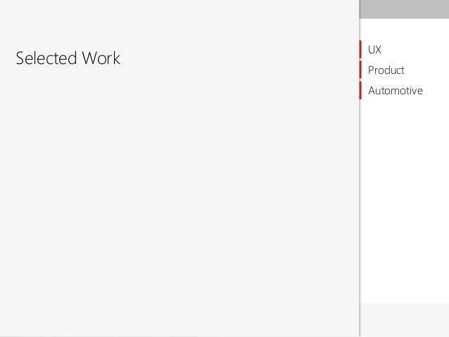 Selected Work  UX Product Automotive  Anirban Ghosh 2012