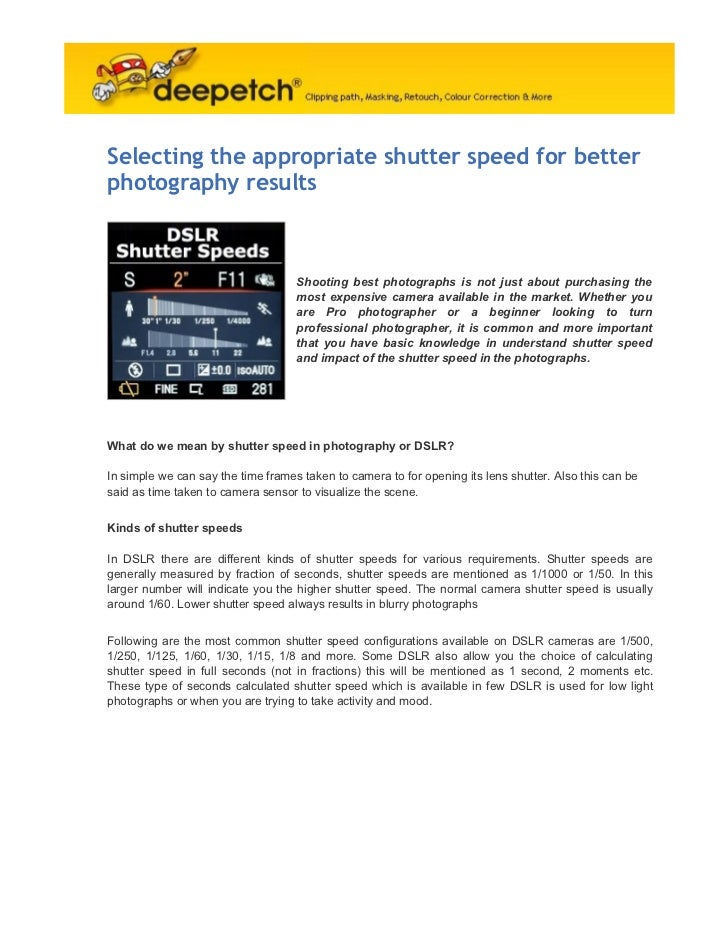 Selecting the appropriate shutter speed for betterphotography results                                    Shooting best pho...