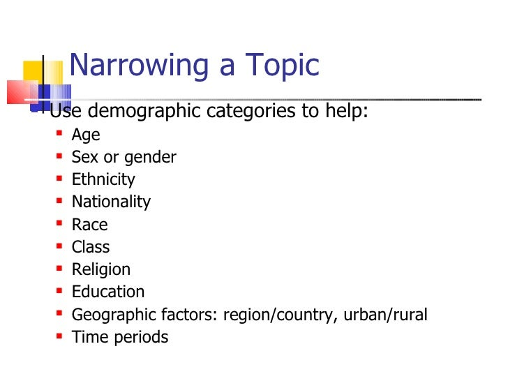 narrow topics for research papers