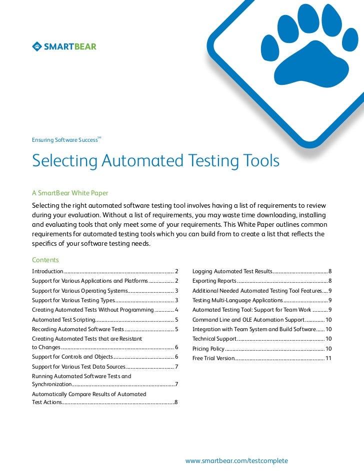 software testing tools list